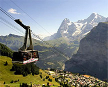 Aerial Cable Tram to Schilthorn over Murren