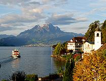 Lake Luzern Cruis Ship toward Mt Pilatus