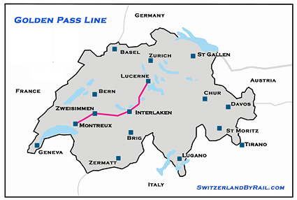 Golden Express Line Route Map Switzerland By Rail